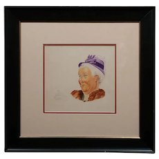 Attributed to Norman Rockwell -  Portrait Study of a Granny  -Watercolor Painting
