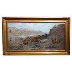 Charles Corwin -Cowboy Roundup through the Canyon-Impressionist Oil Painting-c.1910