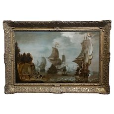 Attributed to Abraham Storck -Dutch Man-O-War at Bay- Important 17th c.Oil Painting