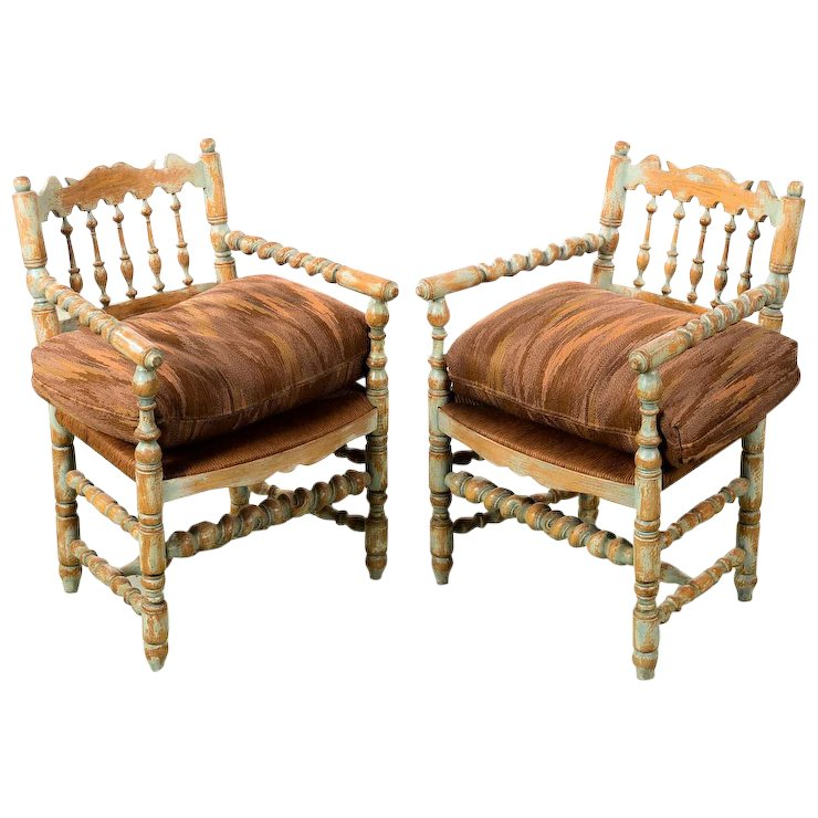 19th century Antique Farm Arm Chairs w/Carved Spindles-A pair - 19th Century Antique Farm Arm Chairs W/Carved Spindles-A Pair