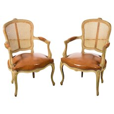 Louis XV style cane back fauteuil chairs w/Beautiful Leather seats- a Pair