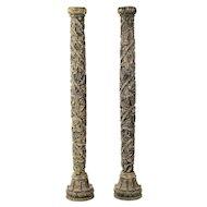 19th century Italian wood Carved Grapevine garden Columns-A pair