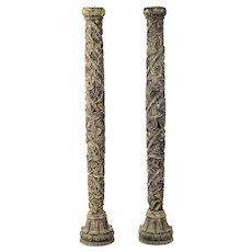 19th century Italian wood Carved Grapevine garden Columns-A pair
