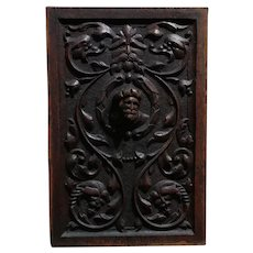19th century Renaissance carved Oak Panel Wall Plaque