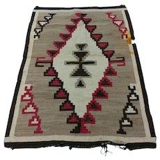 Navajo Hand Woven Wool Rug w/Red & Brown Geometrical pattern-c1920s