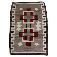 Navajo Hand Woven Wool Rug w/Red & Brown Geometrics c1930s