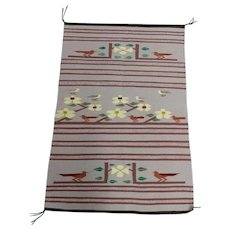 Navajo Hand Woven Wool Saddle Blanket w/Desert Runner Birds