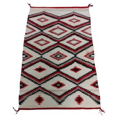 Navajo vintage Hand Woven Wool Rug w/Red Geometrical Patterns