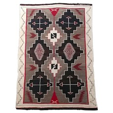 Navajo beautiful Hand Woven Wool Rug w/intricate Geometrics-c1920
