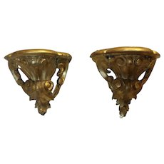 French Rococo Gilt wood wall bracket / sconces- A Pair