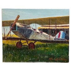 Ben Abril - Vintage Airplane - Oil painting on Canvas -California Impressionist