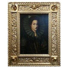 16th century Spanish Lady Royalty w/ Ruff Collar - Oil painting
