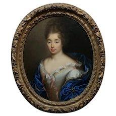 Alexis Simon Belle-Portrait of a young Aristocratic Woman-Oil Painting c.1720s