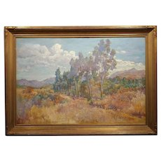 Charles Arthur Fries -Late Afternoon in a Stunning California Landscape- Oil painting c.1900s