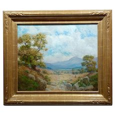 William Lees Judson -Stunning California Oaks Landscape-Oil painting c1900s