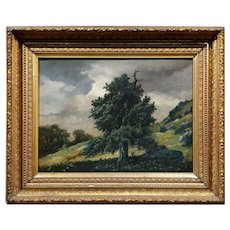 Lonely Oak Tree on a mountain Landscape -19th century oil painting -1862s