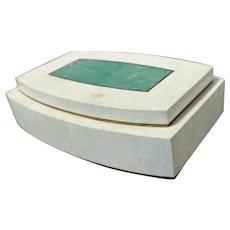 Robert Marcius -Vintage Desk Box-Stone with Brass & Malachite