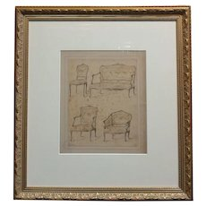 18th century Engraving on paper depicting 4 models of French Chairs
