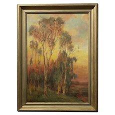 Alice Blair Thomas -Sunset Eucalyptus Landscape 1919 -Beautiful California Oil painting