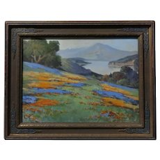 Arthur Best - California Wild Flower Landscape- oil Painting-c.1910