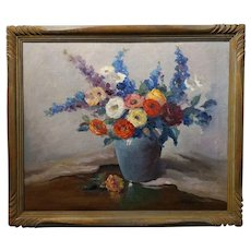 Nell Walker Warner- Still Life Flowers - Oil painting -California Impressionist c1920s