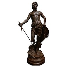 Antoine Bofill -Warrior w/Sword & Shield-19th c. French Bronze sculpture