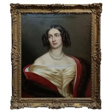 Portrait of Queen Elisabeth of Prussia- After Joseph Karl Stieler -Oil painting c.1840s