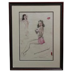Edgar Earl MacPherson - Pin-Up study - Original drawing  -c1950s