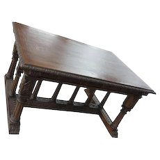 19th century heavily carved Oak Renaissance Library table