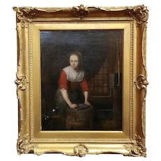 Domenicus Van Tol -Maiden cleaning Silverware-17th century Flemish oil painting