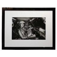 Paul Newman -Inside a Race car - Vintage Silver Gelatin Photograph c1960s