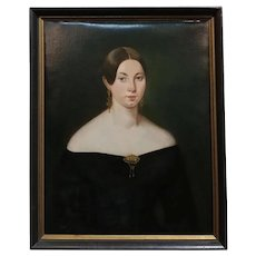 19th century American School -Portrait of a young woman -c1840s