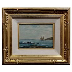 Charles E. Waltensperger -Seascape with Sail Boat- Oil painting -c1900s