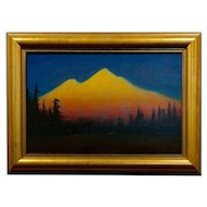 James Everett Stuart- Sunset Glow at Mt Shasta -Beautiful Oil Painting 1921