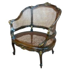 Louis XVI French carved Walnut Cane Corbeille Settee