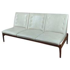 Mid Century Danish Teak & Leather Sofa c.1950s