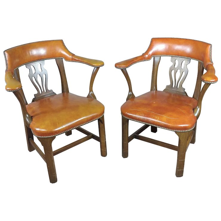 Delicieux Vintage English Office Leather Chairs W/round Back  A Pair