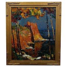 Louis Pastour - Seascape Cliffs in South of France-1920s Oil painting