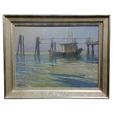 Irion Shields -Boat docked in the Marina- California Oil painting c1930s