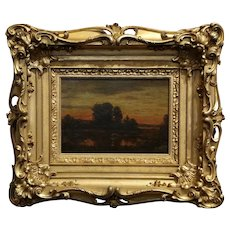Attributed to Theodore Rousseau  -Sunset on a French countryside-19th c. Barbizon School oil Painting