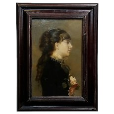 19th century Belle Epoque French Portrait of a young Woman -Oil painting