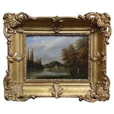 19th century Picturesque French country side along the River-Oil painting