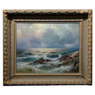Alexander Dzigurski - California Coastal Scene -Stunning Oil Painting -1951