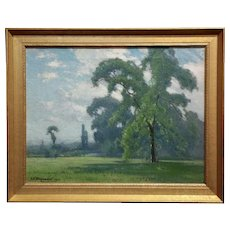 Frank Peyraud -Beautiful Spring Landscape -Oil painting - c.1919