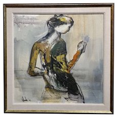 Gino Hollander-  Abstract Female figure 1975 - Oil painting