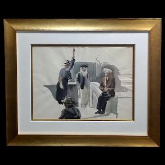 Emil Kosa Jr. -Aimee McPherson,1940s Sunday Sidewalk Preaching-Painting