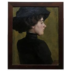 Marion Pooke - Portrait of a woman in Black -Oil painting c.1915