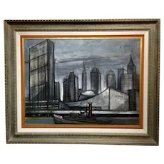 Regis De Cachard - New York Skyline 1961 -Oil painting