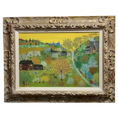 Helena Adamanoff - Russian Farmland Landscape - beautiful Oil painting 1958