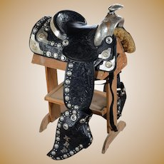 Olsen Nolte -Gorgeous Black Hand Tooled Leather & Sterling Parade Saddle Set c.1938
